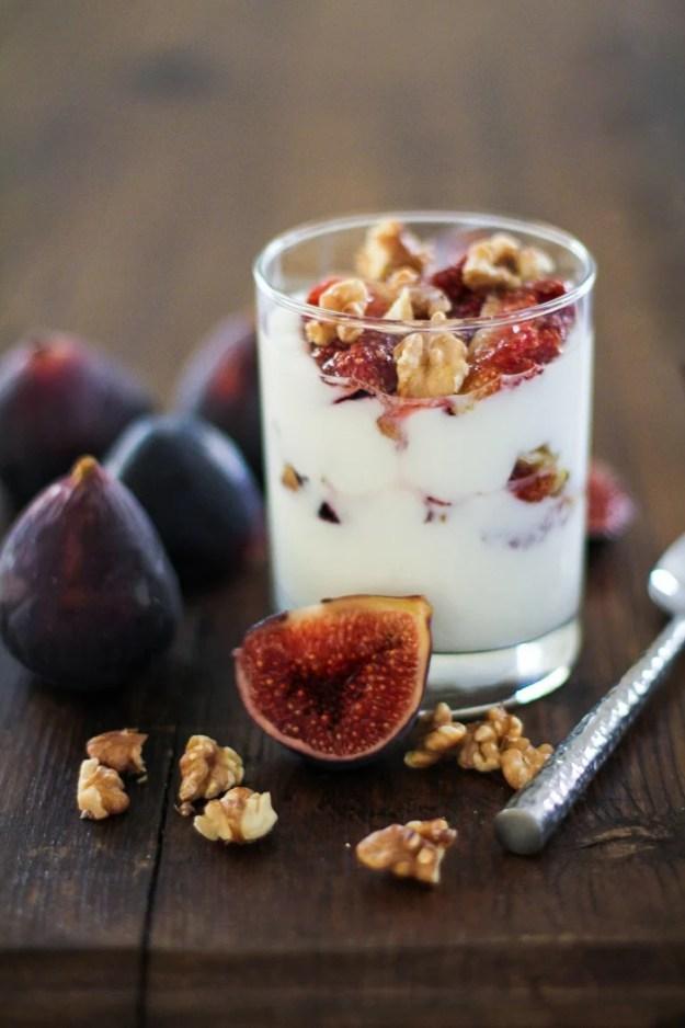 Roasted Fig and Walnut Yogurt Breakfast Parfait with honey   TheRoastedRoot.net #healthy #recipe #glutenfree