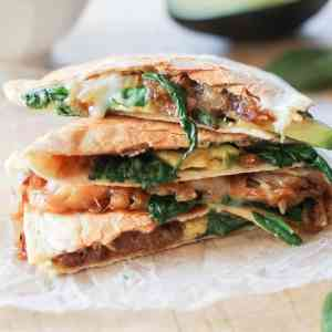 Caramelized Onion, Spinach, and Avocado Quesadilla #vegetarian #healthy #recipe
