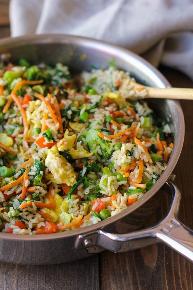 Fully-Loaded Vegetable Fried Rice with broccoli, carrot, bell pepper, spinach, and peas   TheRoastedRoot.net #healthy #recipe #vegetarian