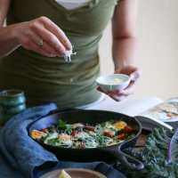 Tomato, Kale, and Parmesan Baked Eggs