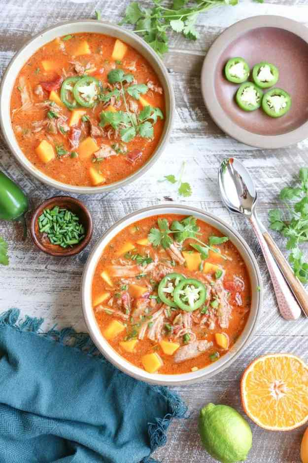 Crock Pot Citrus Pork Chili with Mango - gluten-free, bean-free, paleo, whole30 and healthy!