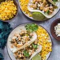 Green Chile Chicken Tacos with Mexican Street Corn (+ Plated Review)
