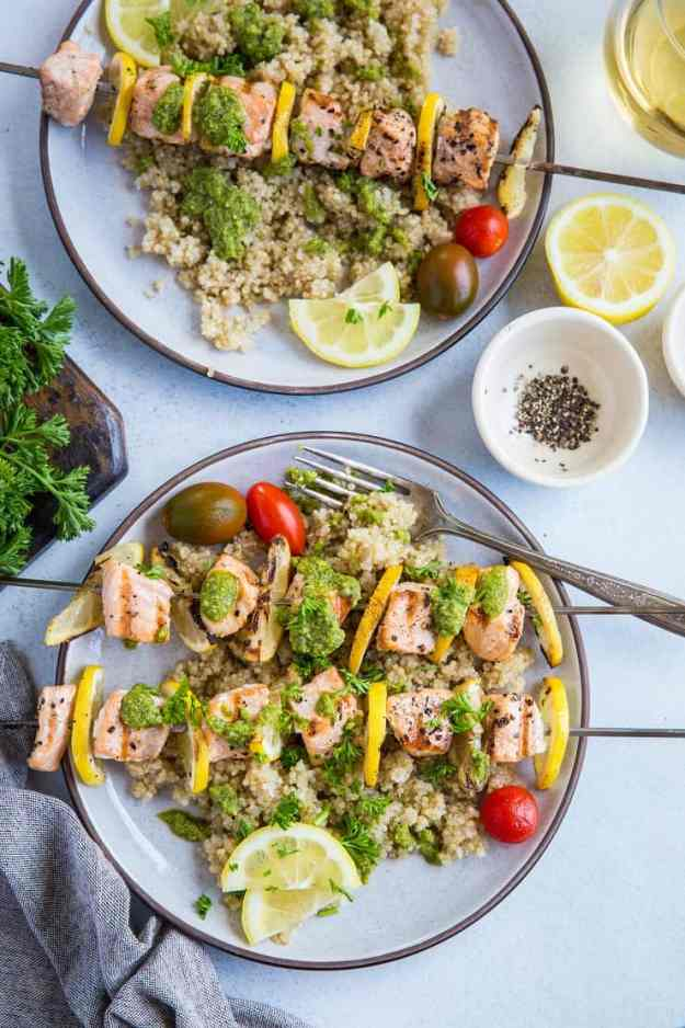 Lemony Grilled Salmon Kabobs with Quinoa and Pesto - a quick, easy, and healthy meal | TheRoastedRoot.com #glutenfree #paleo #primal