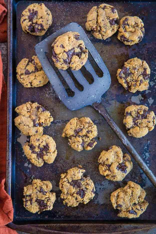 Paleo Pumpkin Chocolate Chip Cookies - grain-free, refined sugar-free, dairy-free and healthy | TheRoastedRoot.com