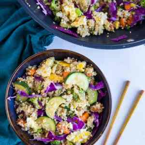 """Vegetable Quinoa Fried """"Rice"""" - a healthy take on fried rice loaded with fresh vegetables for the protein-conscious vegetarian"""