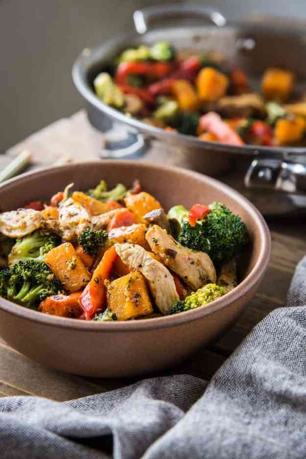 Butternut Squash Ginger Chicken Stir Fry - a clean, delicious, easy dinner recipe for weeknight meals. Paleo, Whole30, low-carb | TheRoastedRoot.net #glutenfree #healthyrecipe