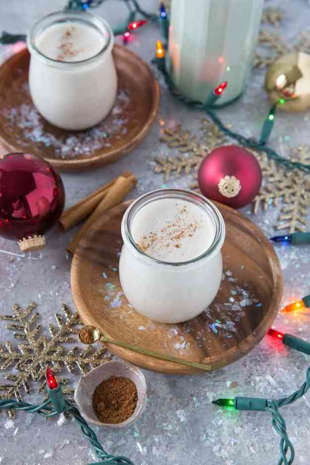 The BEST Vegan Eggnog! - dairy-free, naturally sweetened, paleo, and plant-based. An easy goof-proof recipe. | TheRoastedRoot.net #drinks #holiday