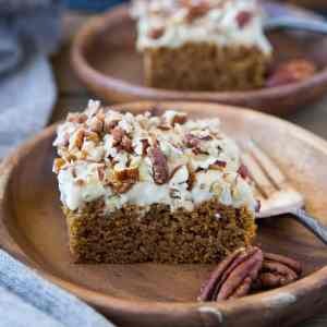 """Paleo & Vegan Pumpkin Snack Cake with vegan """"cream cheese"""" frosting - grain-free, dairy-free, egg-free, super moist and delicious! 