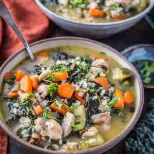 Instant Pot Chicken Soup with Rice, vegetables, and kale. An easy, clean dinner recipe made in your pressure cooker! | TheRoastedRoot.net #glutenfree #healthy #chickensoup