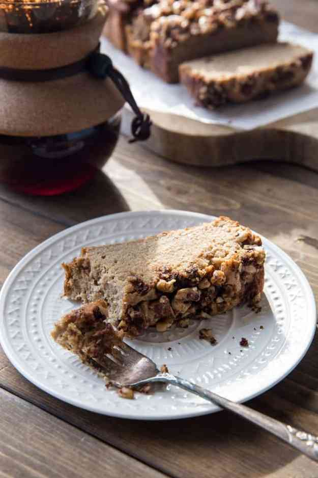 Paleo Coffee Cake Banana Bread - a mashup of coffee cake and banana bread! Grain-free, gluten-free, dairy-free, healthy and delicious | TheRoastedRoot.net