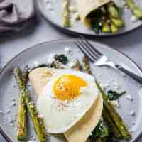 Savory Paleo Crepes with Roasted Asparagus, Spinach, and Feta