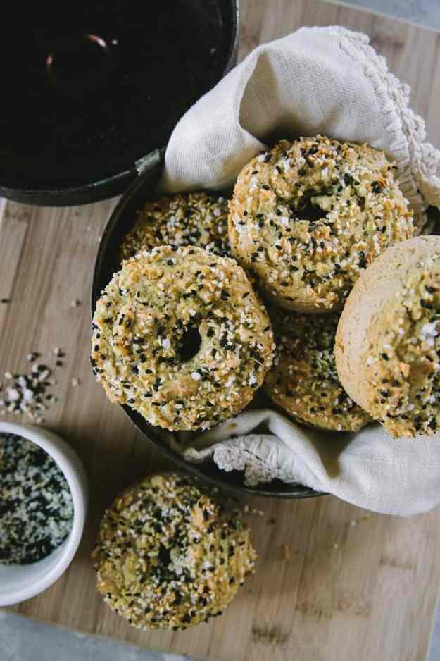 Low-Carb Keto Everything Bagels made with almond flour - an easy grain-free paleo bagel recipe! | TheRoastedRoot.net #glutenfree #breakfast