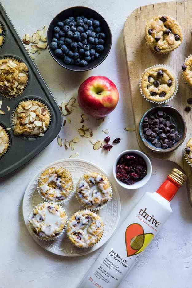 Paleo Coconut Flour Muffins made 4 ways! 4 flavors for grain-free, refined sugar free muffins that are paleo friendly | TheRoastedRoot.net