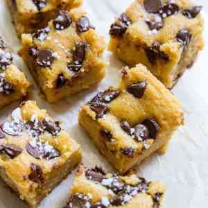 Garbanzo Bean Blondies - a cookie bar made with beans! Grain-free, refined sugar-free, vegan, healthy, and delicious | TheRoastedRoot.net
