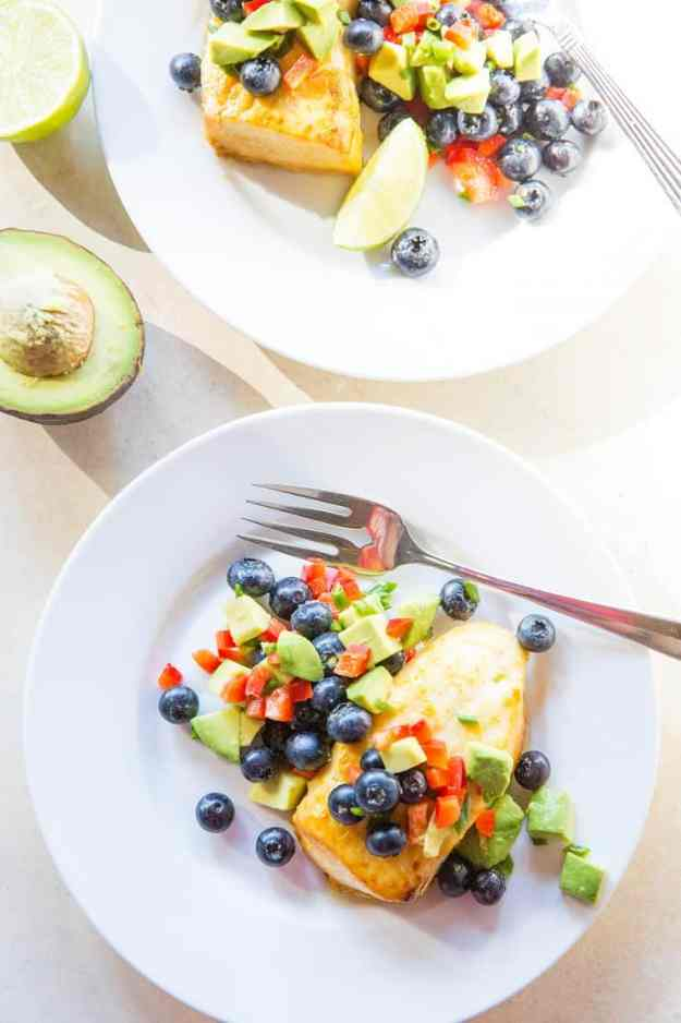 Orange Ginger Baked Halibut with Blueberry Avocado Salsa - an easy, healthy paleo whole30 low-carb dinner recipe | TheRoastedRoot.net