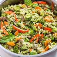 Basil Coconut Ground Beef Skillet with Vegetables and Rice