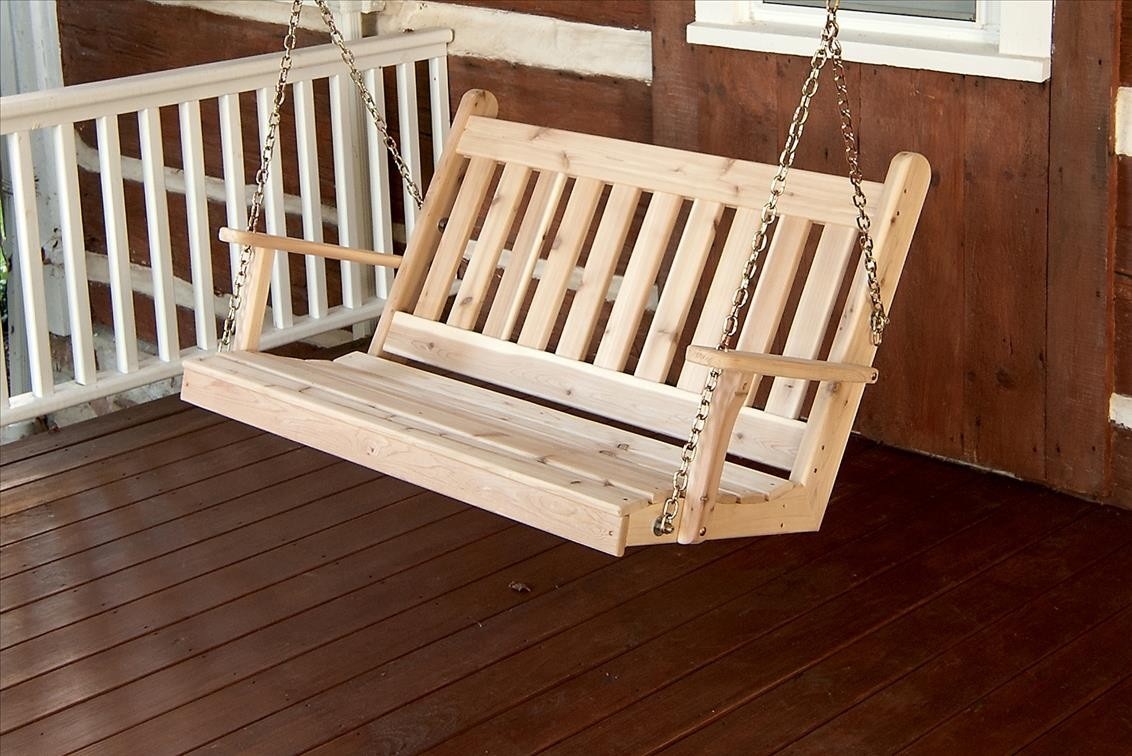 Traditional English Outdoor Cedar Swing With Chains The
