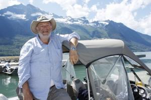 Paul Lorieau former oilers anthem singer at Kinbasket Lake
