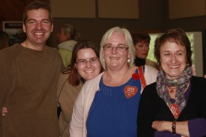 (L to R) Mayor Andru McCracken, Melanie Smith, Hollie Blanchette and Elli Haag at the Love Valemount launch.  Photo: Laura Keil