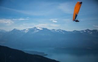 Gavin McClurg & Will Gadd above Kinbasket Lake. Photo Jody MacDonald paragliding
