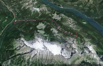 The outline of the Clemina sleding area is in blue, and the trail up to the area from the parking lot on Highway 5 is in red. The site of the powerhouse for the run-of-river power project on Clemina Creek is marked by the yellow pin.