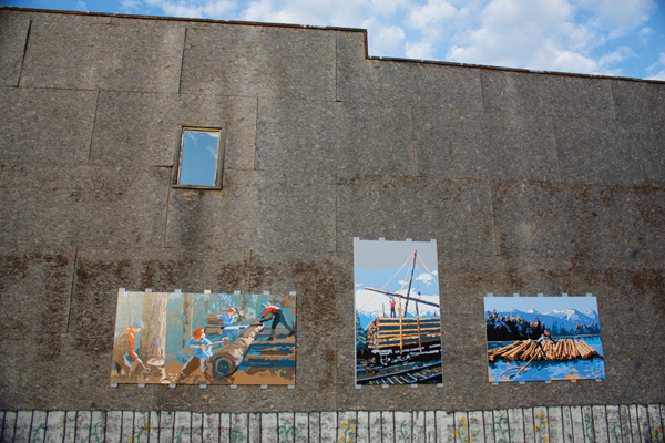 Logging murals on permanent display