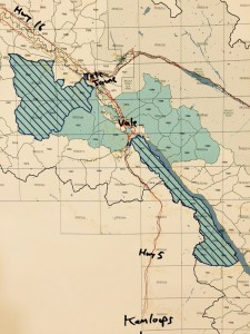 PHOTO CAPTION: A map of the current and potential expansions for the Valemount and McBride Community Forests. Solid shading shows the existing community forests and the striped areas show the potential new community forests.