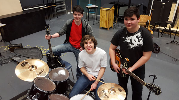 The rock band is comprised of (L to R) Niam Karas, Riley L'Hirondelle, Willis Courtoreille and other students who jam during their unstructured music class time.