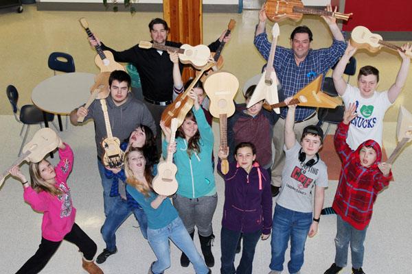 Gr. 8 students made ukuleles last semester using local birch.