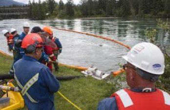 Kinder Morgan simulates a spill response at Tete Jaune Lodge, on June 1, 2016.
