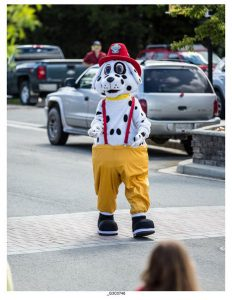 Every good fire department needs a dog, and Valemount's is no different. Sparky, the dalmation mascot, accompanied his fellow firefighters down 5th Avenue during the Valemountain Days Parade. / BOB HOSKINS