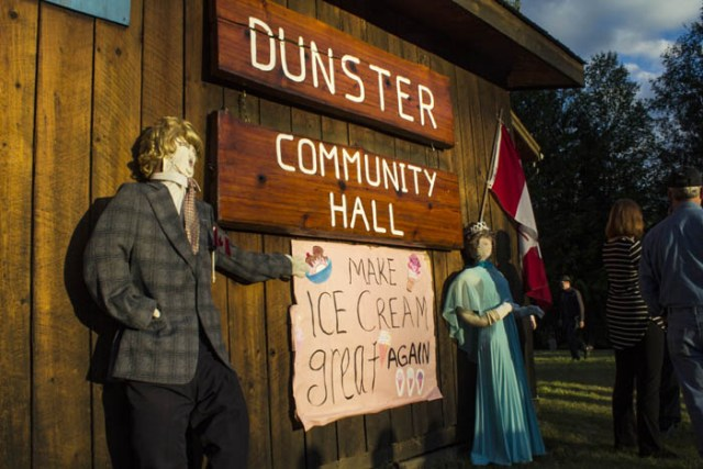 """Mannequins welcome everyone to the Dunster Ice Cream Social, """"Make ice cream great again!"""""""