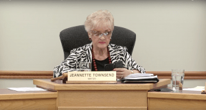 Photo: Courtesy of VCTV Mayor Townsend as she reads Shaun Saimann's letter to council.