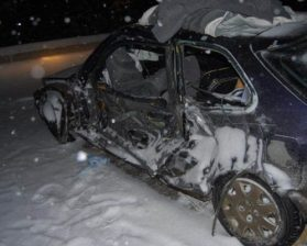 Photo courtesy of RCMP A Honda Civic after being side swiped by a semi. There were no injuries.
