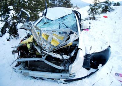 Photo courtesy of RCMP Valemount RCMP responded to a report of a single vehicle collision with injuries on Highway 5 near Pitney RD.  Upon arrival the two occupants were already extracted and being treated in an ambulance.  The vehicle left the roadway northbound into a ditch, proceeding for several hundred feet before coming to rest with extensive damage.