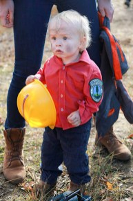 Ronin takes a break from fighting fires at a Halloween party. / LAURA KEIL