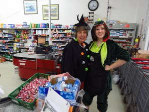 Pat Elliot and Paetyn Glover-Robertson ready to greet children at AG Foods in McBride /ANDREA ARNOLD