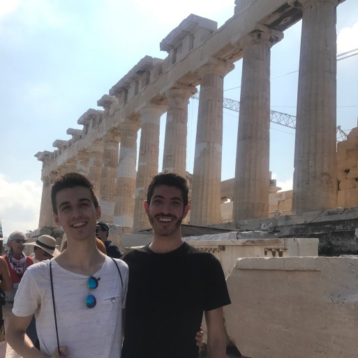 Standing Together On Acropolis Hill in Athens