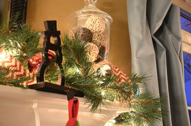 Christmas decor mantle stockings