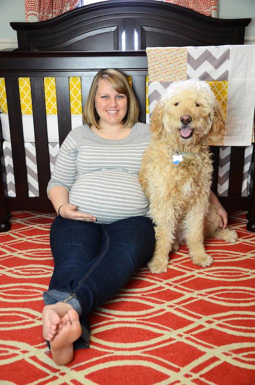 Modern Gender Neutral Baby Nursery Room with Goldendoodle dog