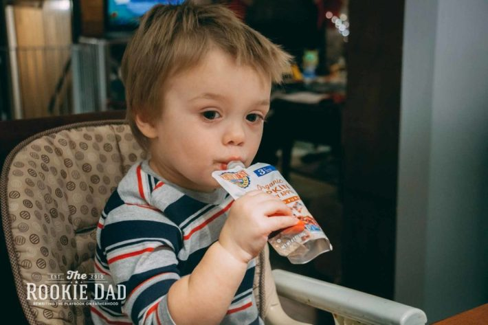 Child Eating Earth's Best Baby Food Pouch