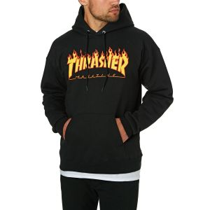 Sudadera Capucha Thrasher Flame Logo Black