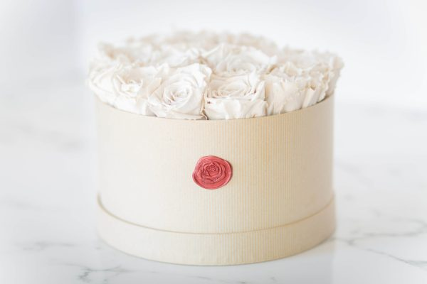 white roses in a round box
