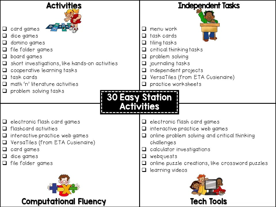 Math Workshop Stations – Versatiles Worksheets