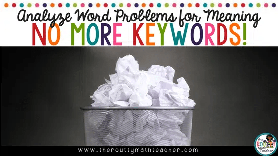 The use of keywords focuses on looking at the words in isolation and not in the context of the problem. Focusing on the problem as a whole allows students to become better at solving math word problems. In this post, I share more about the operation situations and offer strategies for how to help students visualize a problem. I also offer a free printable poster that can be used to replace that math keywords anchor chart.