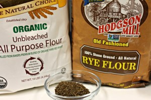 Bread flour, rye flour, and caraway seeds.