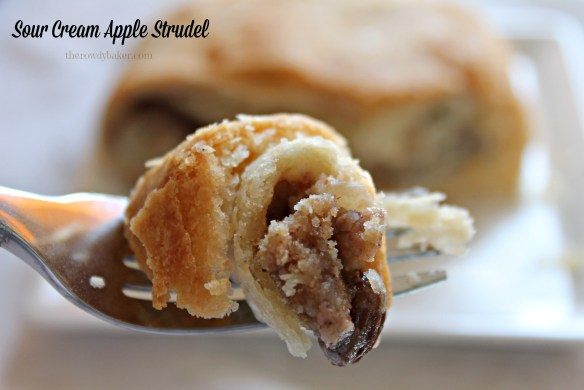 Bite of Sour Cream Apple Strudel - The Rowdy Baker