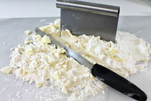 Roughly chop together. Don't blend in the butter - small chunks are what make it flaky!