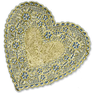 Heart Gold Foil Royal Lace Paper Doilies TheRoyalstore