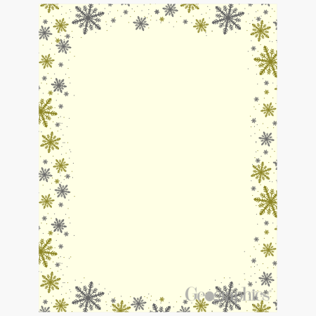 Silver and Gold Frost Ivory 2 Christmas Foil Letterhead 49744W
